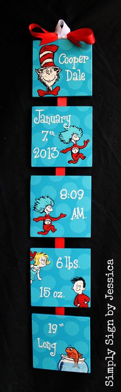 Cat in the Hat  Dr. Seuss  Style Birth Announcement for baby's nursery on Etsy, $50.00 ~ good DIY idea