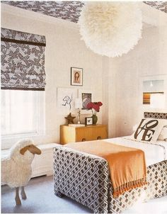 brown print head and foot board LOVE pillow via Haus and Home