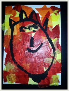Dimoni pintat amb témpera sobre fons de paper de seda. 4 anys. San Antoni, Creative Art, Preschool, Arts And Crafts, Collage, Santa, Painting, School, Ideas