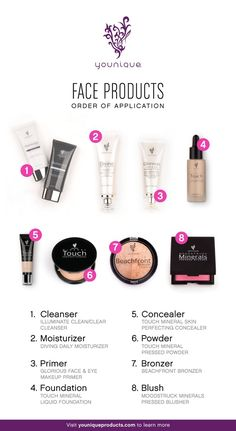 Step by step Face!!!  Good Morning Ladies!!  Here's a great image of our face products.  BB cream is not pictured below however thats My daily standard in place of #4 for a light even coverage. The skin care has been fabulous for me!! My skin is smooth, hydrated,  & free from many fine lines due to the fact that I use the Uplift eye serum daily along with my Moisturizer. Feel free to let me know if you have any questions as I'd love to share what's been working well for me!!!