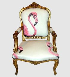 Flamingo chair. I think I will try this on my big brown leather bergere chairs and ottomans.