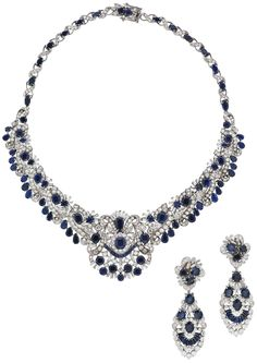 A SUITE OF SAPPHIRE AND DIAMOND JEWELLERY