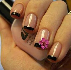 #Simple #black #french #nail #design