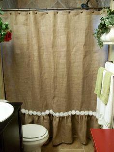 Burlap Ruffled Shower Curtain