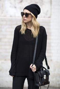 Black outfit.