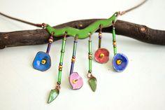 Morning Glory, collar de esmalte, esmalte declaración, flor, joyas naturales, Morning Glory flores, collar, declaración esmaltado,
