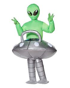 64cm Inflatable Green Space Alien Blow Up Ufo Sci Fi Fancy Dress Party Swimming