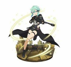 it suits her^^ Sword Art Online, Online Art, Manga Girl, Anime Art Girl, Anime Manga, Sinon Ggo, Kirito, Fantasy Characters, Anime Characters