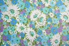 forget me nots a vintage sheet fat quarter by duckyhouse on Etsy, $2.50