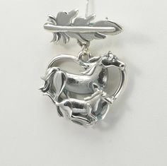 Sterling Silver Horse Pin with a Mare and a by DonnaPizarroDesigns