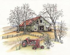 Blue Ridge Barn Tractor, Pen & Ink and Watercolor, Springtime landscape (Reproduction)