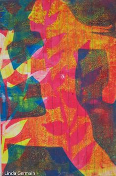 Fun, Bright, Powerful Gelatin Plate Print - and the basic gelatin printing video in this blog post by Linda Germain Printmaking