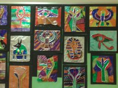 Egyptian foil art. Glue lines on cardboard. Let dry. Cover with foil and color with sharpie.