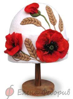"""Купить Шапка для бани """"Маки и колосья"""" - шапка для бани, шапка для сауны, войлок"""