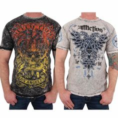 Affliction - Mens Voodoo Man Reversible T-Shirt, Medium, Blk/Wht Lava Tint: Amazon.co.uk: Clothing