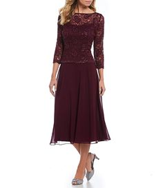 Emma Street Sequined Lace Mock 2-Piece Tea-Length Dress
