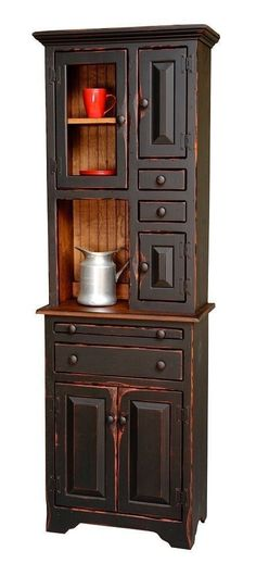 Been wanting something like this with the exact color for My Kitchen. <3 Primitive Furniture Hoosier Hutch Decor Country Kitchen Cottage Pine #Primitivefurniture #Primitivekitchen #countryfurniture #primitivecountrydecorating