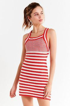 UO Maura Striped Crochet Mini Dress