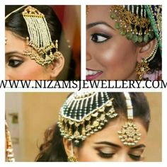That jhoomar....exquisite! Head Jewelry, Stone Jewelry, Gold Jewellery, Bridal Jewelry, Jewlery, Head Accessories, Women Accessories, Fashion Accessories, Hyderabadi Jewelry