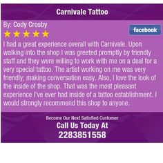 I had a great experience overall with Carnivale. Upon walking into the shop I was greeted...