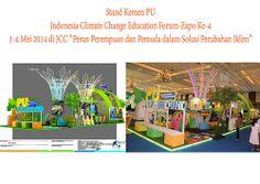 """Stand Kemen PU - Indonesia Climate Change 2014 Pameran Indonesia Climate Change Education Forum-Expo Ke-4, 1-4 Mei 2014 di JCC dengan tema """"Peran Perempuan dan Pemuda dalam Solusi Perubahan Iklim."""" Dibuka Karliansyah. (MAP CONVEX)"""