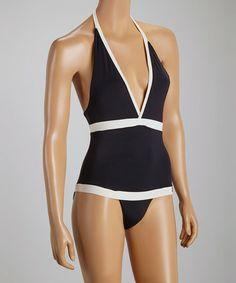 Black & Cream Madison One-Piece - Women by Sauipe Swimwear #zulily #zulilyfinds