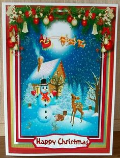 Santa s On his Way  on Craftsuprint designed by Ceredwyn Macrae - made by Cheryl French - Printed onto glossy photo paper. Attached topper to card stock using ds tape. Added glitter. Attached insert using ds tape. - Now available for download!