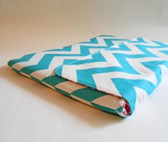 "MacBook Air case, laptop cover for 11""- Custom sizing for Chrome Book available --- Turquoise chevron stripes"