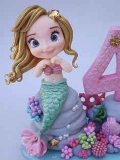 Is Porcelain China Little Mermaid Cakes, Mermaid Birthday Cakes, The Little Mermaid, Fondant Figures, Clay Figures, Polymer Clay Miniatures, Polymer Clay Crafts, Fondant Decorations, Fondant Toppers