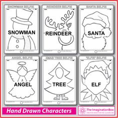 Christmas Coloring Pages - Self Portraits & Creative Writing Christmas Colors, Christmas Fun, Christmas Art Projects, Christmas Coloring Pages, Santa And Reindeer, Selfie, Creative Writing, How To Draw Hands, Crafts For Kids