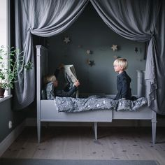 This room by featuring the bed drape just whispers 'sleep' doesn't it? Shop it now via The Little Kidz Closet. Canopy Bed Drapes, Canopy Over Bed, Kids Canopy, Bed Tent, Big Girl Rooms, Baby Boy Rooms, Unique Toddler Beds, Scandinavian Kids Rooms, Creative Kids Rooms