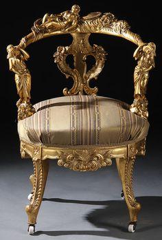 Italian Renaissance Revival Carved and Gilt-wood Armchair.
