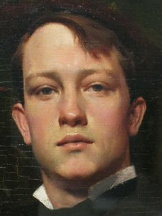 "Dennis Miller Bunker 1881 ""Portrait of Walter Griffin"" detail / photo: Elwyn Brooks"