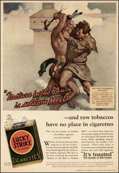 """«Lucky Strike Ad (1932): """"Lucky Strike, the official cigarette of the Washington Redskins""""»."""