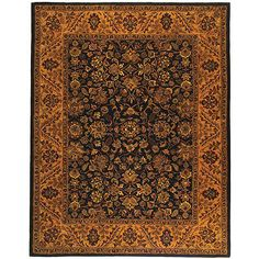 Incorporate this floral handmade wool rug with deep gold and black tones into your home's decor for a fun and festive vibe. This classical rug will warm your home with 100 percent, hand-spun wool that gives this rug an ultra-plush and luxurious feel.