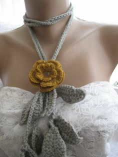 Crocheted mustard flower brooch.lariat -necklace