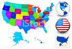 Vector World Map Geography of United States Royalty Free Stock Vector Art Illustration