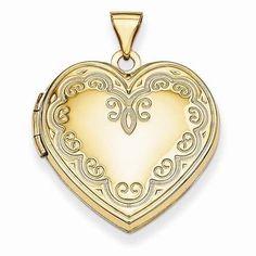 "NEW 14K YELLOW GOLD 2 PHOTO HEART LOCKET 1.02"" X .87"" SATIN PENDANT CHARM 2.22g #Locket"