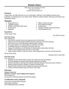 Pics Photos Nanny Resume Examples Downloads Sample Resumes Free ...