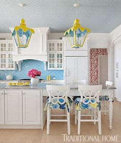 Bright and fun kitchen! From Traditional Home.