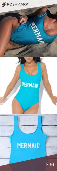 << Mermaid One Piece Swim Suit Bodysuit >> This swim suit will have you standing out! One pieces are in! Bright blue color with white writing. Fits true to size. Wear as a body suit with denim shorts as well! First picture has filters and is used as cover shot, whereas other pictures are more indicative of the color :( Boutique Swim One Pieces