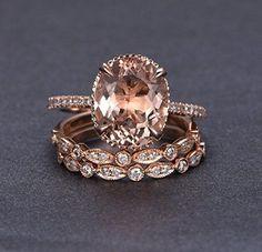Oval Morganite Engagement Ring Trio Bridal Set Pave Diamond Wedding 14K Rose Gold 10x12mm