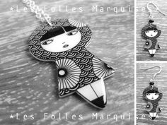 Set of jewelry : Little doll pendant with earrings. €55.00, via Etsy.