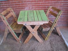 Original Green Pallet Table and Chairs. $275.00, via Etsy.