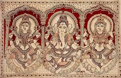 Indian Painting Styles...Kalamkari Paintings (Andhra Pradesh)-ganesha_with_lakshmi_and_saraswati-1-2-.jpg