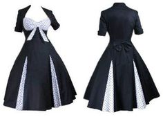 rockabilly plus size clothes for women | FIFTIES BLACK/WHITE PLUS SIZE POLKA DOT ROCKABILLY JIVE DRESS 18/20/22 ...