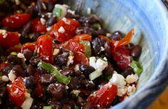 black beans, feta, tomato, yum