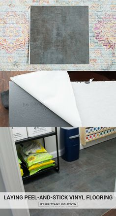 Vinyl peel-and-stick flooring is an easy an inexpensive way to quickly transform your floors. See how I laid it on the bare concrete floor in our craft and general storage closet!