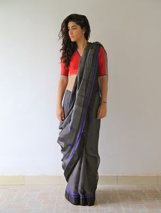Buy Charcoal Grey Black Midnight Blue Mogra Chanderi Saree By Raw Mango Online at Jaypore.com