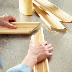 Assembling the pieces of a DIY mirror frame